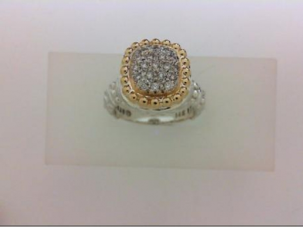 Fashion Ring - 14Y/SS .19ctw Diamond Dome Ring