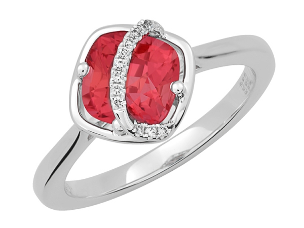 Fashion Ring - 14W 2.25ct Cent ChCr Padpara w/.04ctw Dia Ring