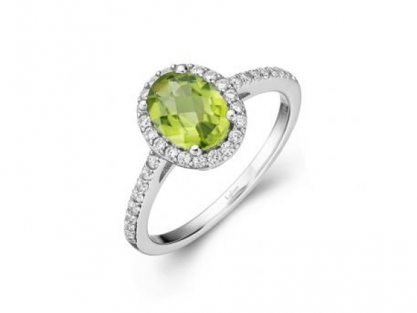 Ring - SS 1.57ct Peridot w/Sim Dia Ring