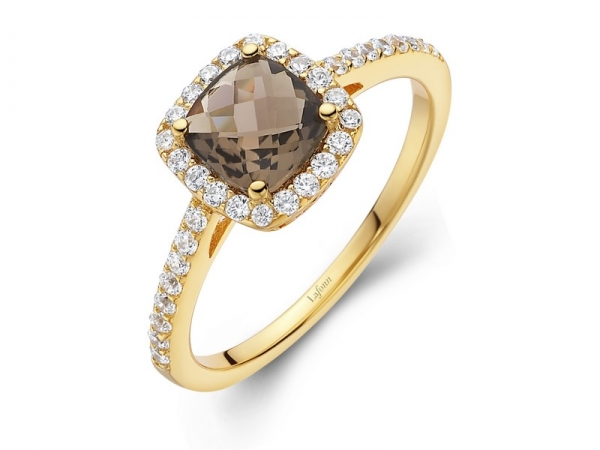 Ring - SS/YP 1.60ct Smokey Topaz w/Sim Diamond Ring