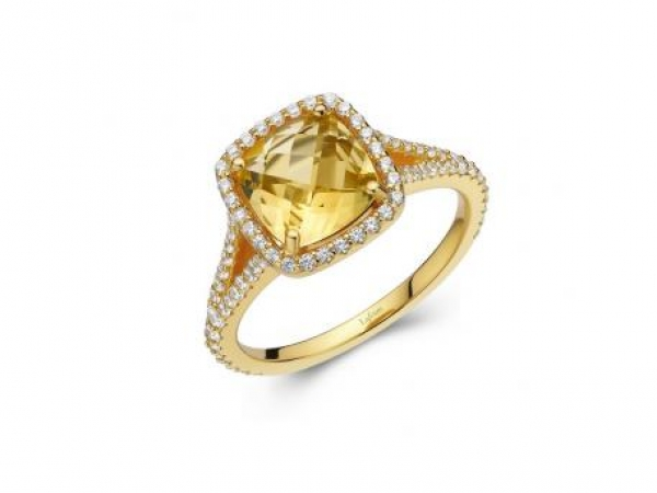 Ring - SS/YGP 3.82ctw Citrine & Sim Dia Ring